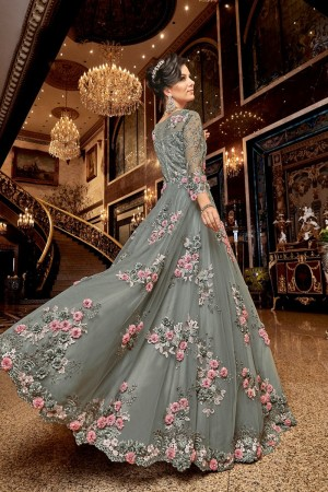 Teal Premium Net Anarkali Suit