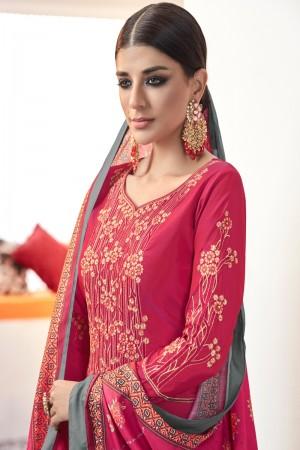 Rani Pink Heavy satin Tafeta Salwar Kameez