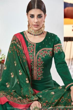 Green Heavy satin Tafeta Salwar Kameez