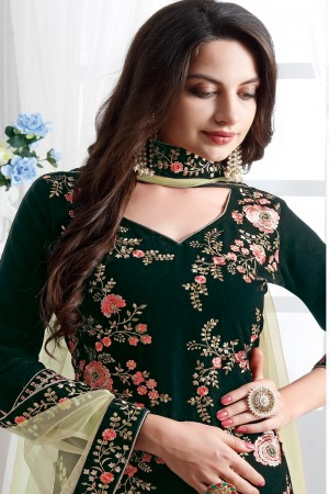 Green Velvet Churidar Suit
