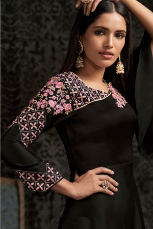 Black Glowing Georgette Gown