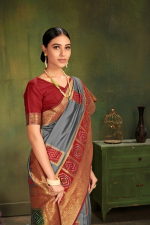 Grey Patola Silk Saree with Blouse