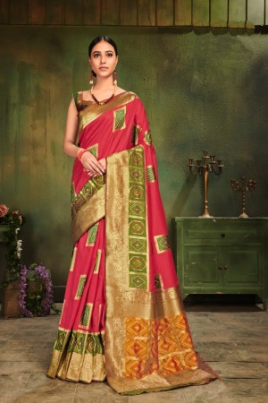 Pink Patola Silk Saree with Blouse