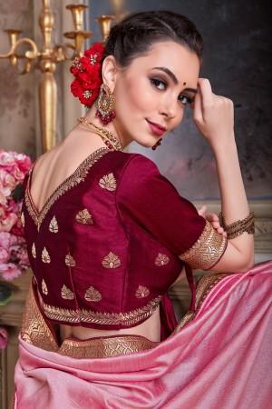 Pink Chinnon Chiffon Saree with Blouse
