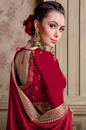 Red Chinnon Chiffon Saree with Blouse