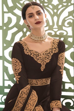 Brown Georgette Anarkali Salwar Kameez