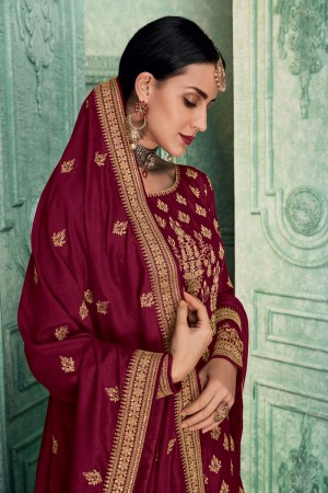 Maroon Soft Silk Anarkali Salwar Kameez