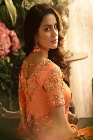 Orange Fancy Fabric Saree with Blouse