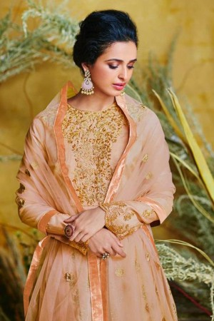 Light Orange Pure silk Salwar Kameez