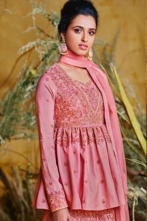 Pink Pure silk Salwar Kameez