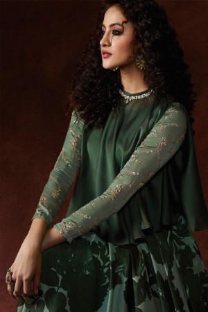 Green Silky Georgette Gown