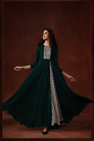 Dark Green Georgette & Silk Crepe Gown