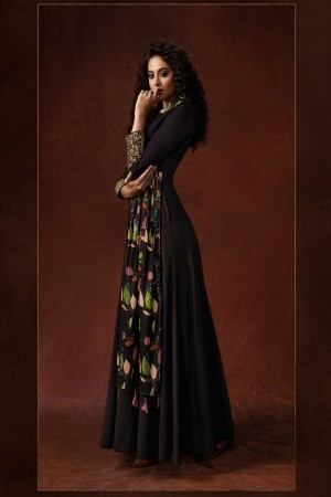 Wine Georgette & Silk Gown