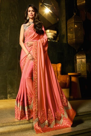 Peach Fancy Fabric Saree with Blouse