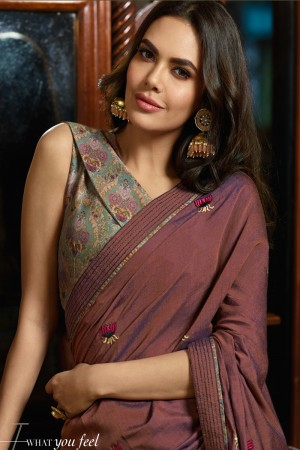 Brick Fancy Fabric Saree with Blouse