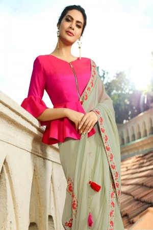 Mint Fancy Fabric Saree with Blouse