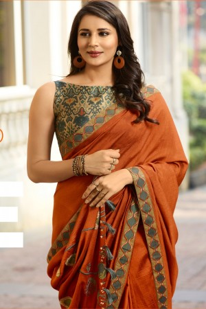 Orange Fancy Fabric Saree with Blouse