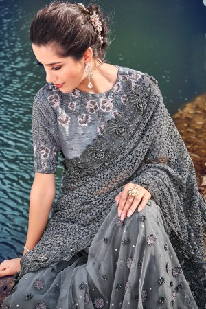 Grey Net Saree with Blouse