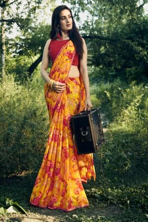 Yellow Chiffon Saree with Blouse