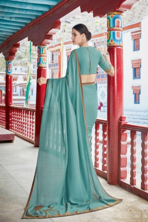 Light Teal Shahi chiffon Saree with Blouse
