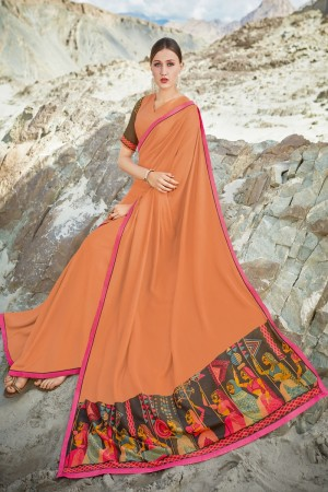 Orange Shahi chiffon Saree with Blouse