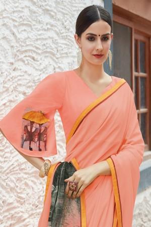 Peach Shahi chiffon Saree with Blouse