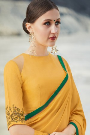 Mustard Shahi chiffon Saree with Blouse