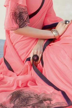 Light Pink Shahi chiffon Saree with Blouse