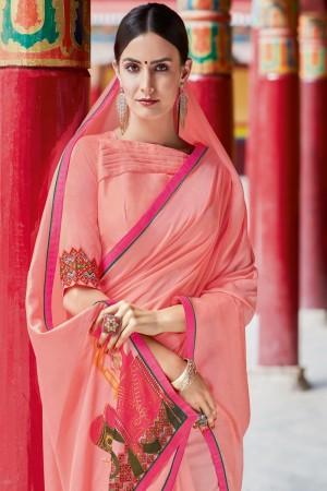 Pink Shahi chiffon Saree with Blouse