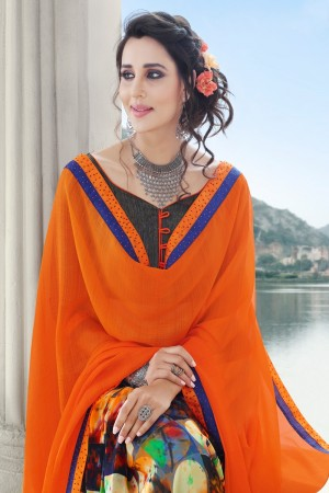 Orange Georgette Saree with Blouse