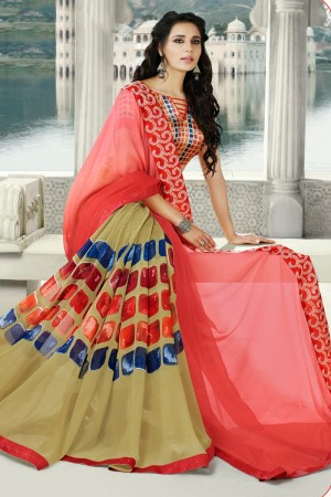 Red & Beige Georgette Saree with Blouse