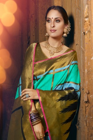 Sky blue Silk Saree with Blouse