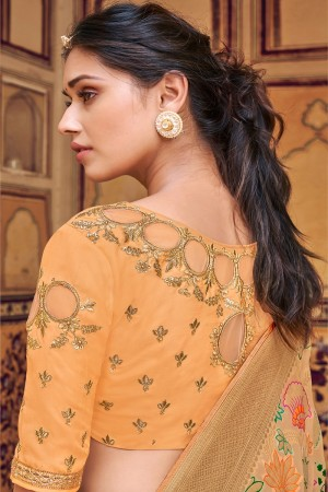 Chiku Banarasi Silk Saree with Blouse
