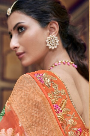 Orange Banarasi Silk Saree with Blouse