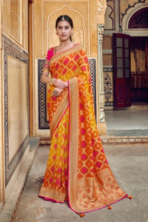 Yellow&Orange Banarasi Silk Saree with Blouse
