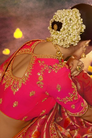 Pink Silk Saree with Blouse