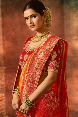 Red & Orange Silk Saree with Blouse