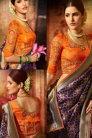 Purple Silk Saree with Blouse