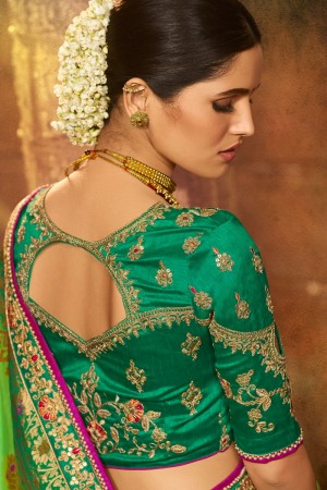 Parrot Green Silk Saree with Blouse