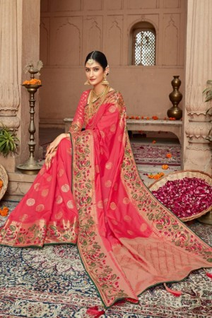 Hot Pink Silk Saree with Blouse