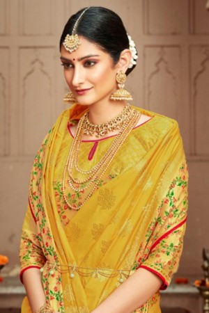Yellow Silk Saree with Blouse