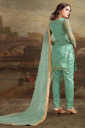 Light Green Net Churidar Suit