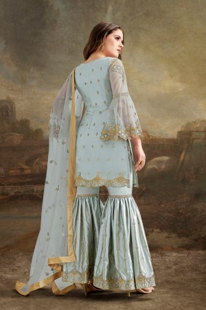 Light Sky Blue Net Sharara Suit