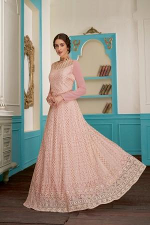 Baby Pink Real Georgette Anarkali Suit