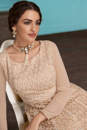 Light Brown Real Georgette Anarkali Suit