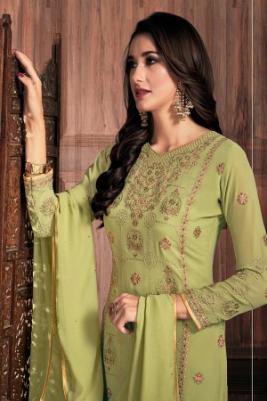 Olive Georgette Churidar Suit