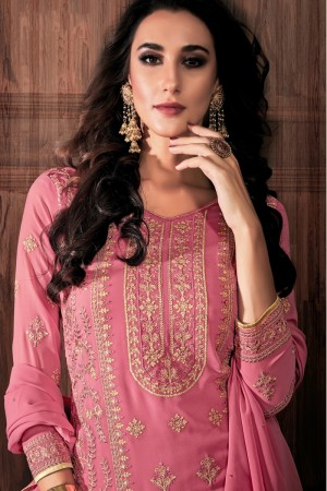 Light Pink Georgette Churidar Suit
