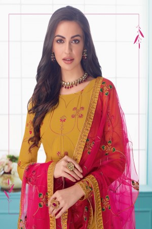 Mustard Real Georgette Churidar Suit