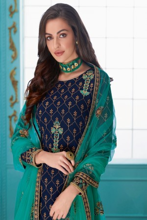 Navy Blue Real Georgette Churidar Suit