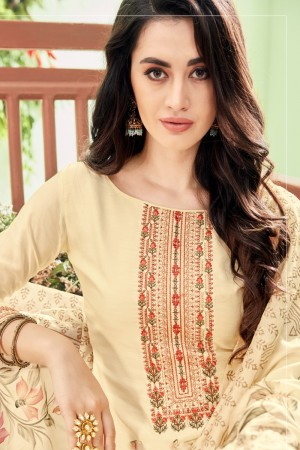 Cream Cotton Silk Salwar Kameez
